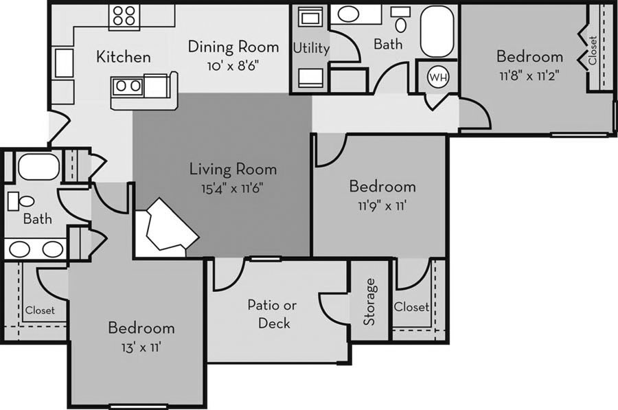 3 Bedrooms 2 Bathrooms Apartment for rent at Providence Court in Charlotte, NC