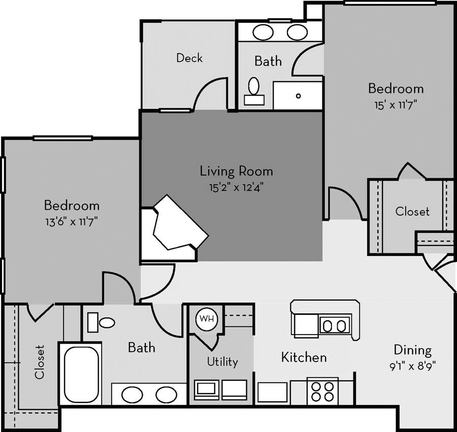 2 Bedrooms 2 Bathrooms Apartment for rent at Providence Court in Charlotte, NC