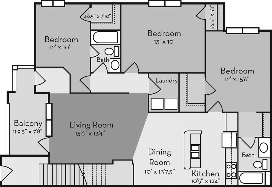 3 Bedrooms 2 Bathrooms Apartment for rent at Mill Creek in Wilmington, NC