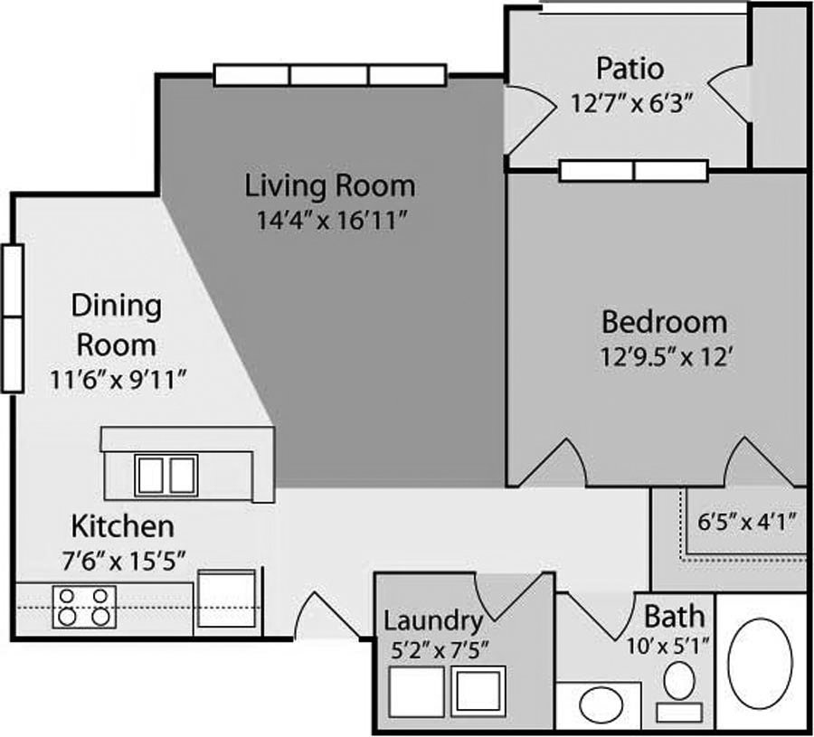 1 Bedroom 1 Bathroom Apartment for rent at Mill Creek in Wilmington, NC