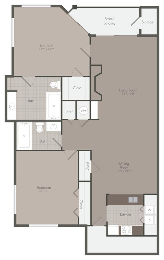 2 Bedrooms 2 Bathrooms Apartment for rent at Mallard Creek Apartments in Charlotte, NC