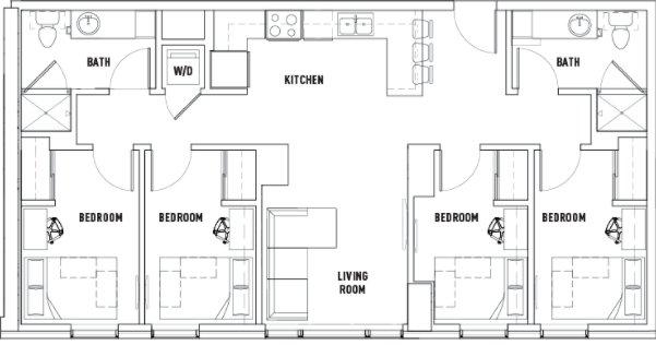 4 Bedrooms 2 Bathrooms Apartment for rent at Landmark Apartments in Ann Arbor, MI