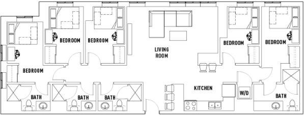 5 Bedrooms 4+ Bathrooms Apartment for rent at Landmark Apartments in Ann Arbor, MI