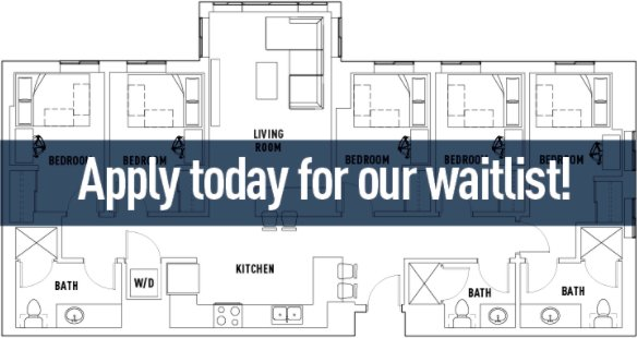 5 Bedrooms 3 Bathrooms Apartment for rent at Landmark Apartments in Ann Arbor, MI