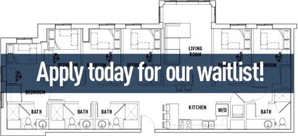 6 Bedrooms 4+ Bathrooms Apartment for rent at Landmark Apartments in Ann Arbor, MI