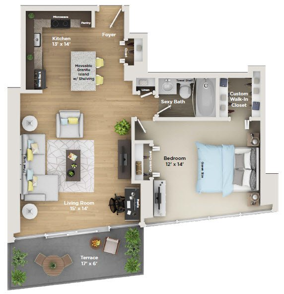 1 Bedroom 1 Bathroom Apartment for rent at 800 Tower City Club Apartments in Louisville, KY