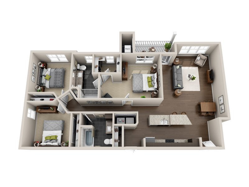 3 Bedrooms 2 Bathrooms Apartment for rent at 800 Tower City Club Apartments in Louisville, KY