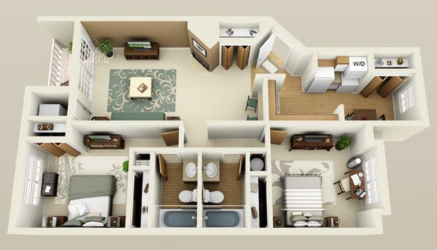 2 Bedrooms 2 Bathrooms Apartment for rent at The Ponds At Georgetown in Ann Arbor, MI