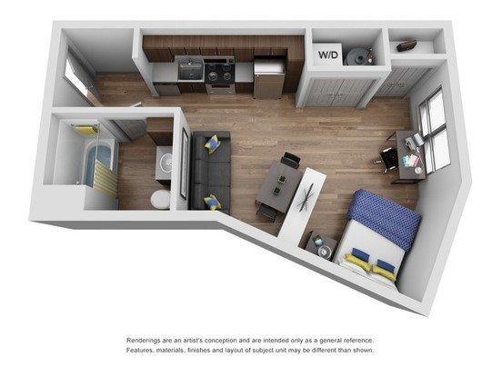Studio 1 Bathroom Apartment for rent at The Yard in Ann Aror, MI