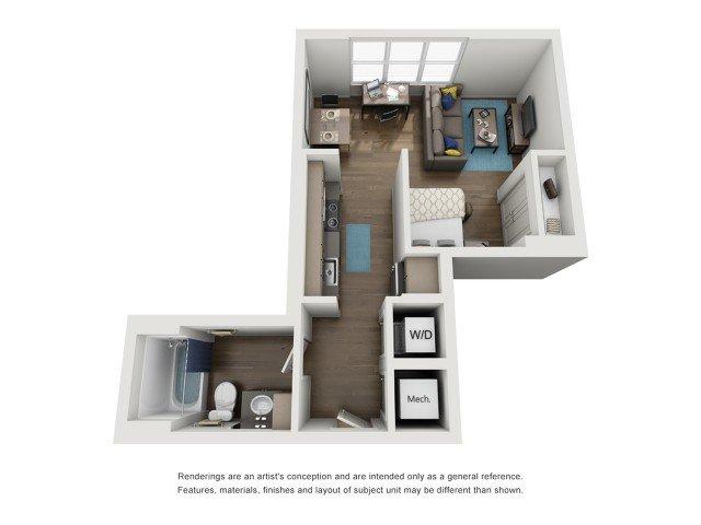Studio 1 Bathroom Apartment for rent at Six11 in Ann Arbor, MI