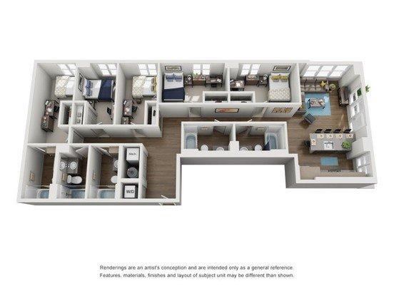 5 Bedrooms 4+ Bathrooms Apartment for rent at Six11 in Ann Arbor, MI
