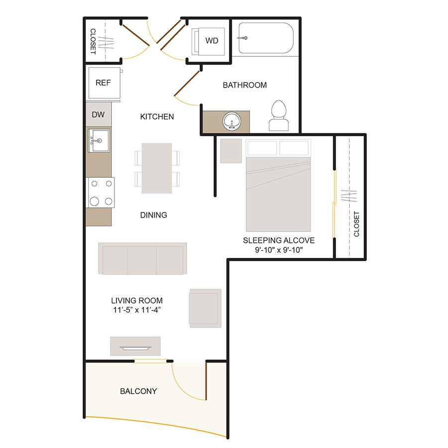 Studio 1 Bathroom Apartment for rent at Foundry Commons in San Jose, CA