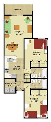 2 Bedrooms 2 Bathrooms Apartment for rent at Oakbrook Walk Residences in Gainesville, FL