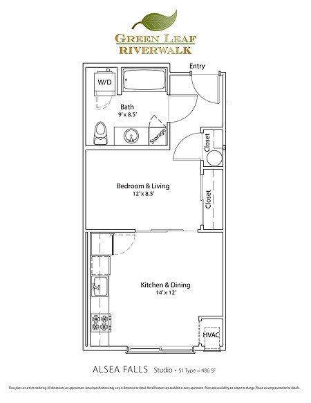 Studio 1 Bathroom Apartment for rent at Green Leaf Riverwalk in Eugene, OR