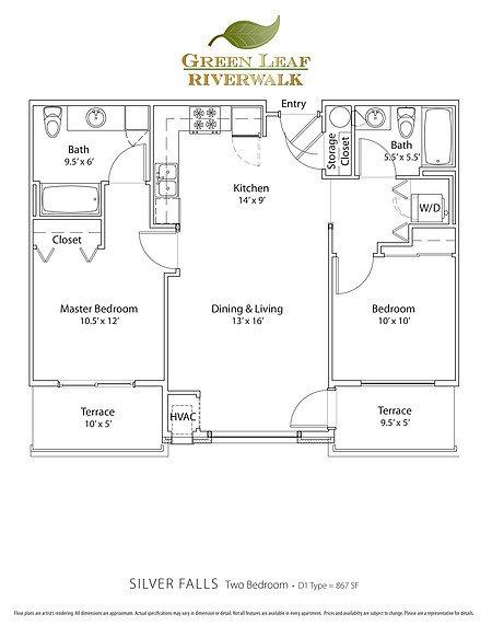 2 Bedrooms 2 Bathrooms Apartment for rent at Green Leaf Riverwalk in Eugene, OR