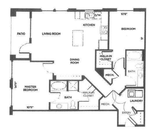 2 Bedrooms 2 Bathrooms Apartment for rent at Alta City House in Denver, CO