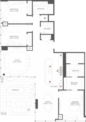 3 Bedrooms 3 Bathrooms Apartment for rent at The Hudson in Chicago, IL