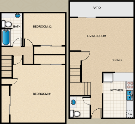 2 Bedrooms 2 Bathrooms Apartment for rent at Loma Palisades Apartments in San Diego,