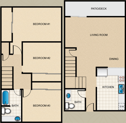 3 Bedrooms 2 Bathrooms Apartment for rent at Loma Palisades Apartments in San Diego,