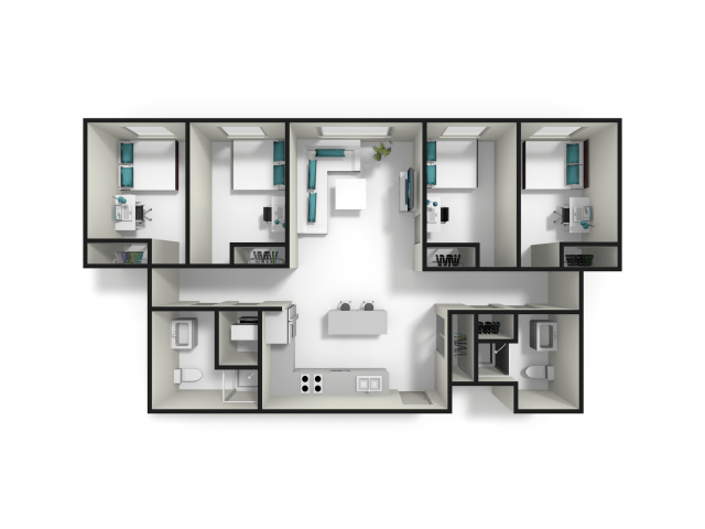 4 Bedrooms 2 Bathrooms Apartment for rent at Fuse in West Lafayette, IN