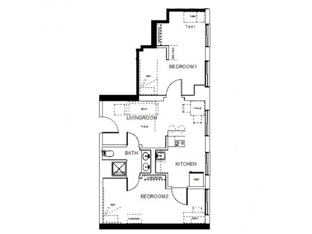 2 Bedrooms 1 Bathroom Apartment for rent at Towers On State in Madison, WI