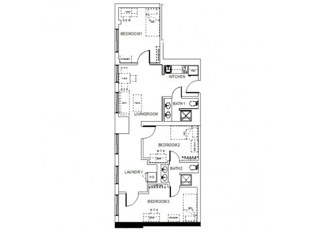 3 Bedrooms 2 Bathrooms Apartment for rent at Towers On State in Madison, WI