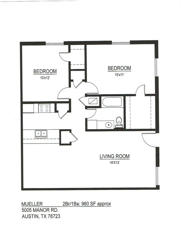 2 Bedrooms 1 Bathroom Apartment for rent at Mueller Square in Austin, TX