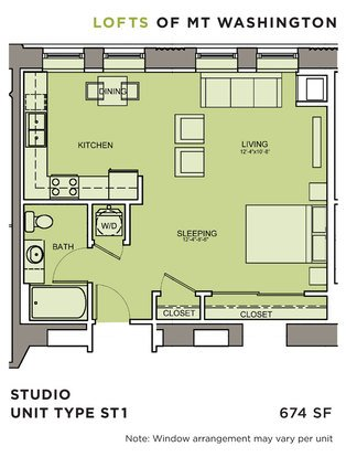 Studio 1 Bathroom Apartment for rent at Lofts Of Mt. Washington in Pittsburgh, PA