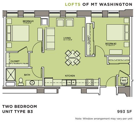 2 Bedrooms 1 Bathroom Apartment for rent at Lofts Of Mt. Washington in Pittsburgh, PA
