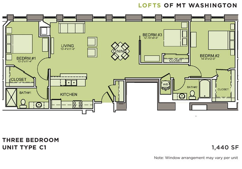 3 Bedrooms 2 Bathrooms Apartment for rent at Lofts Of Mt. Washington in Pittsburgh, PA