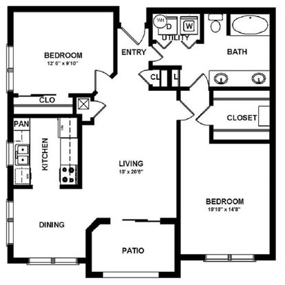 2 Bedrooms 1 Bathroom Apartment for rent at Mansions In The Park in Baton Rouge, LA