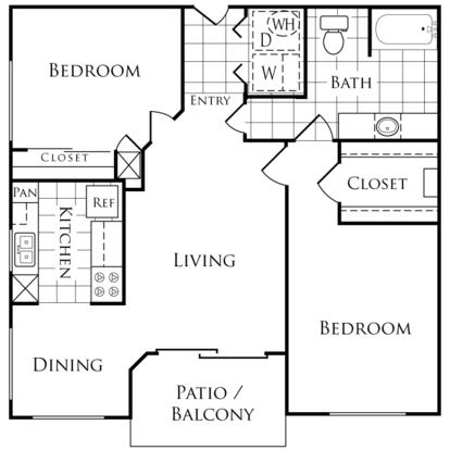 2 Bedrooms 1 Bathroom Apartment for rent at Lakeside Villas in Baton Rouge, LA