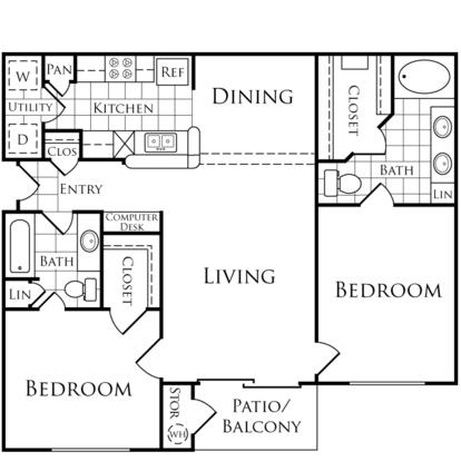 2 Bedrooms 2 Bathrooms Apartment for rent at Lakeside Villas in Baton Rouge, LA
