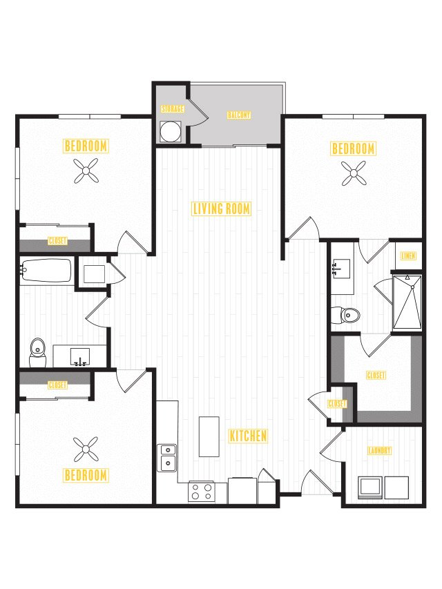 3 Bedrooms 2 Bathrooms Apartment for rent at Capital Place in Phoenix, AZ