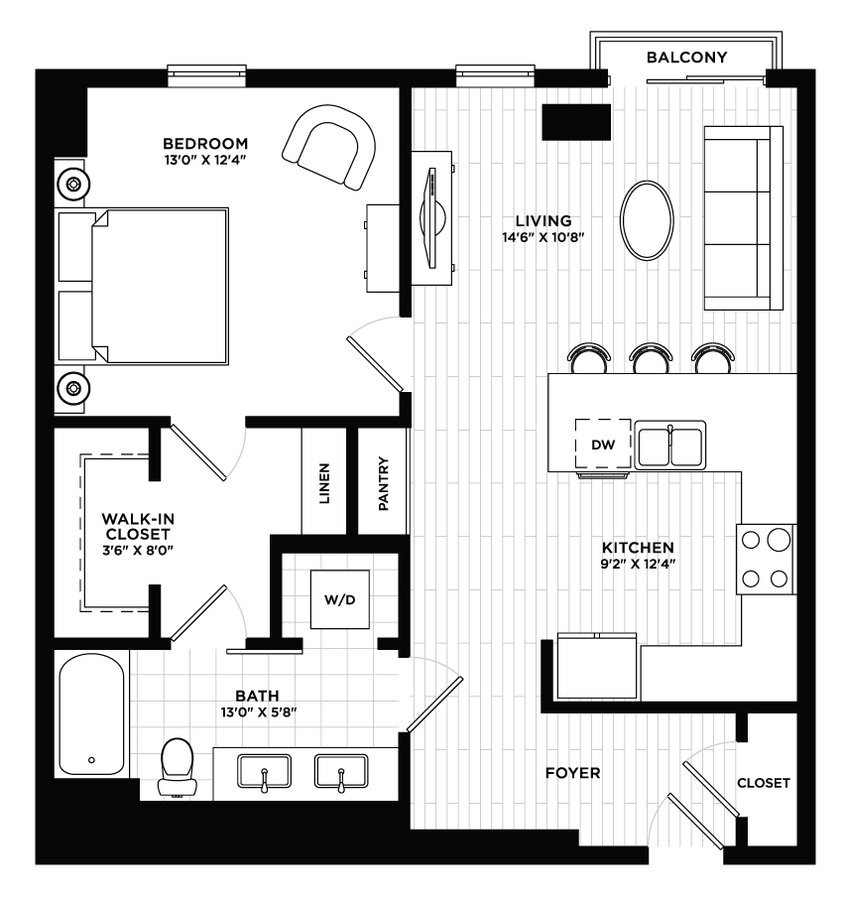 1 Bedroom 1 Bathroom Apartment for rent at The Local in Tempe, AZ
