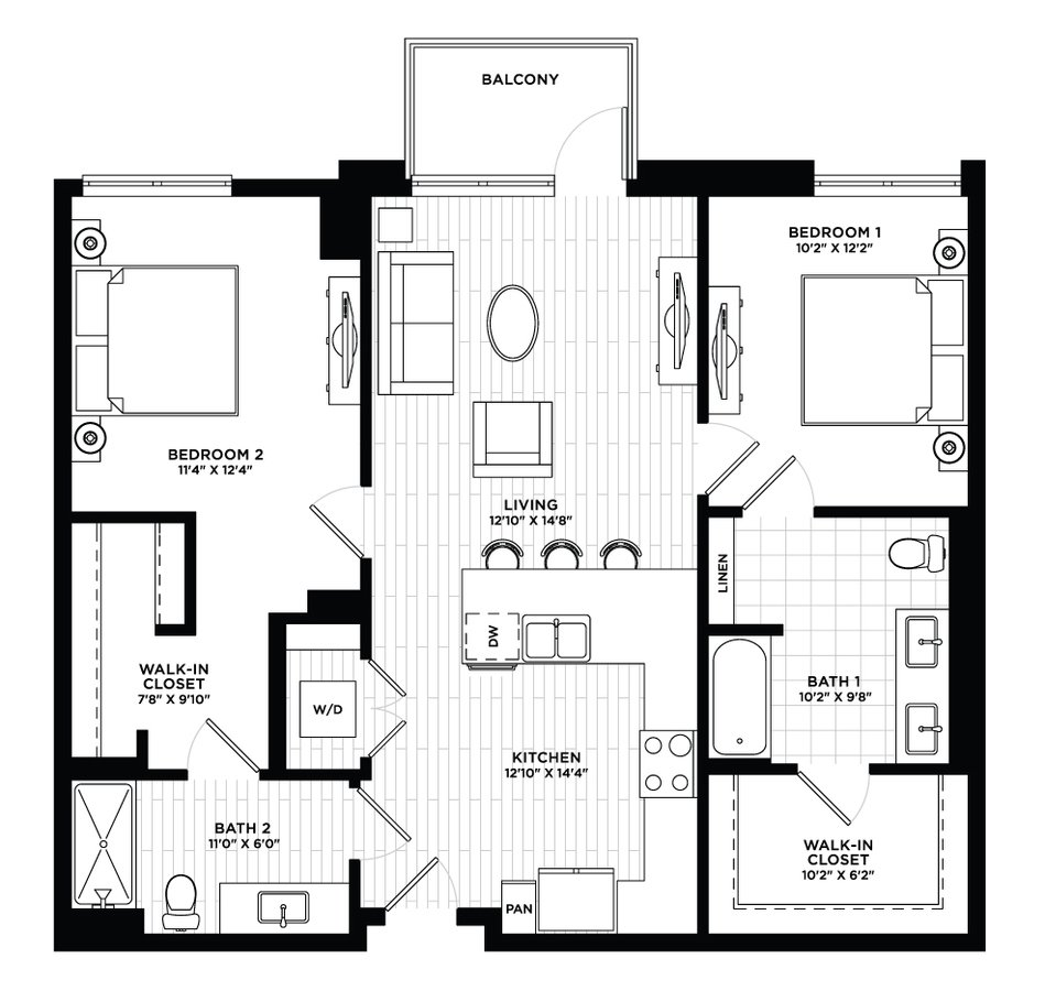 2 Bedrooms 2 Bathrooms Apartment for rent at The Local in Tempe, AZ