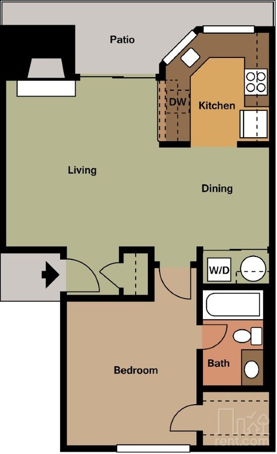 1 Bedroom 1 Bathroom Apartment for rent at Wyndham On The Creek in Dallas, TX