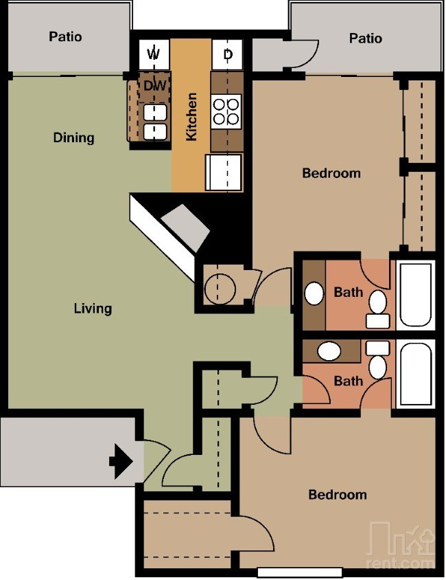 2 Bedrooms 2 Bathrooms Apartment for rent at Wyndham On The Creek in Dallas, TX