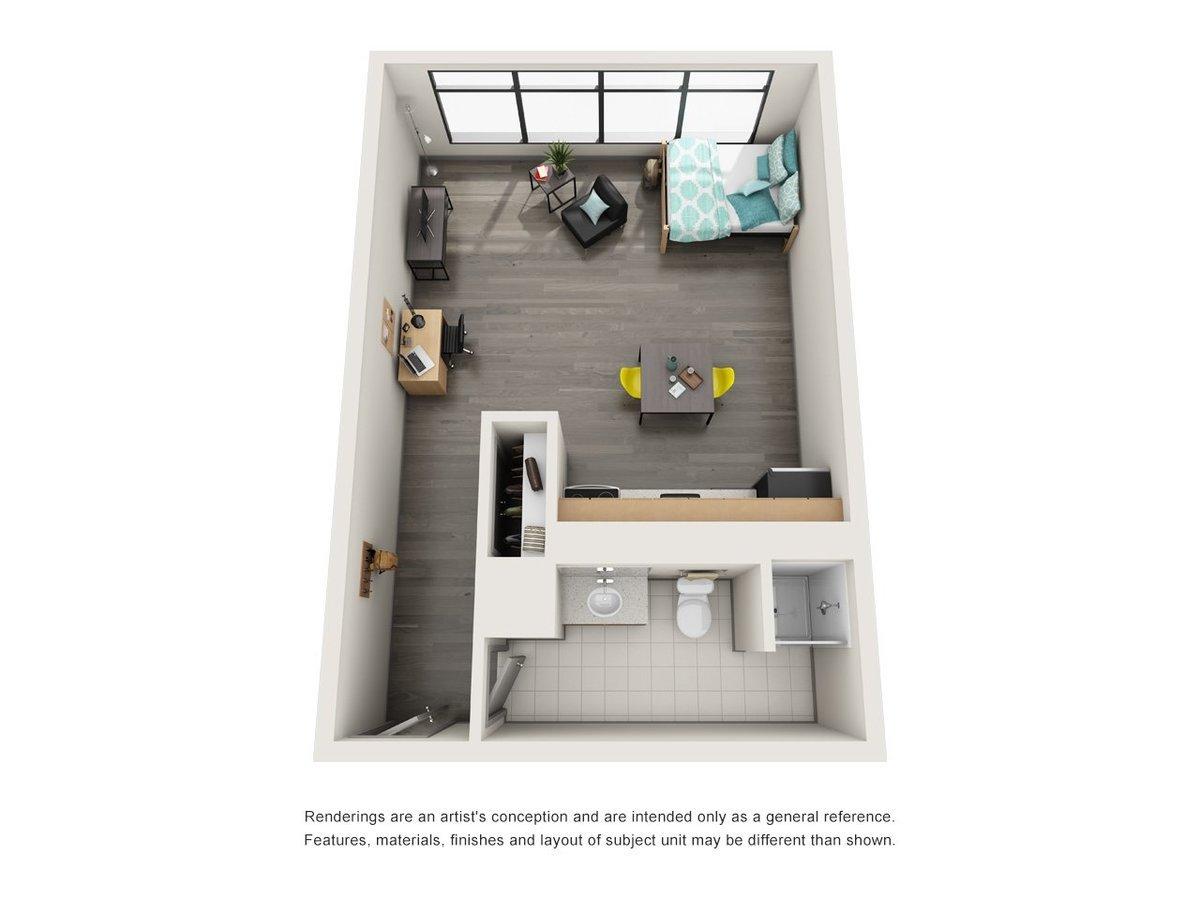Studio 1 Bathroom Apartment for rent at University Center in Chicago, IL
