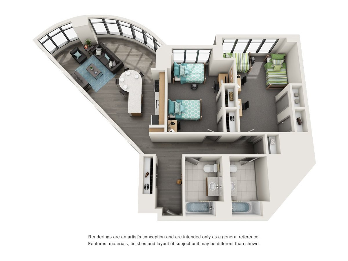 2 Bedrooms 2 Bathrooms Apartment for rent at University Center in Chicago, IL