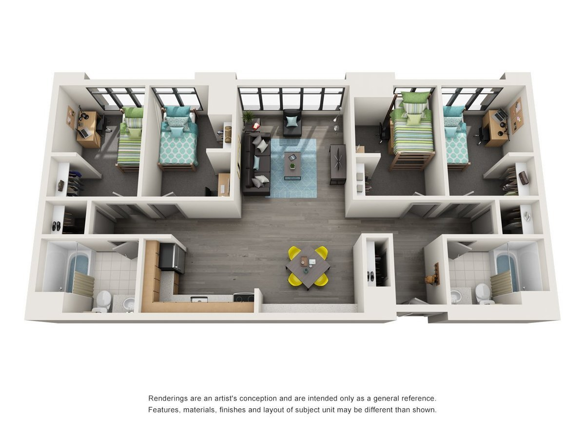 4 Bedrooms 2 Bathrooms Apartment for rent at University Center in Chicago, IL