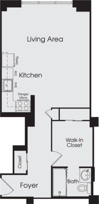 Studio 1 Bathroom Apartment for rent at Town Residences in Detroit, MI