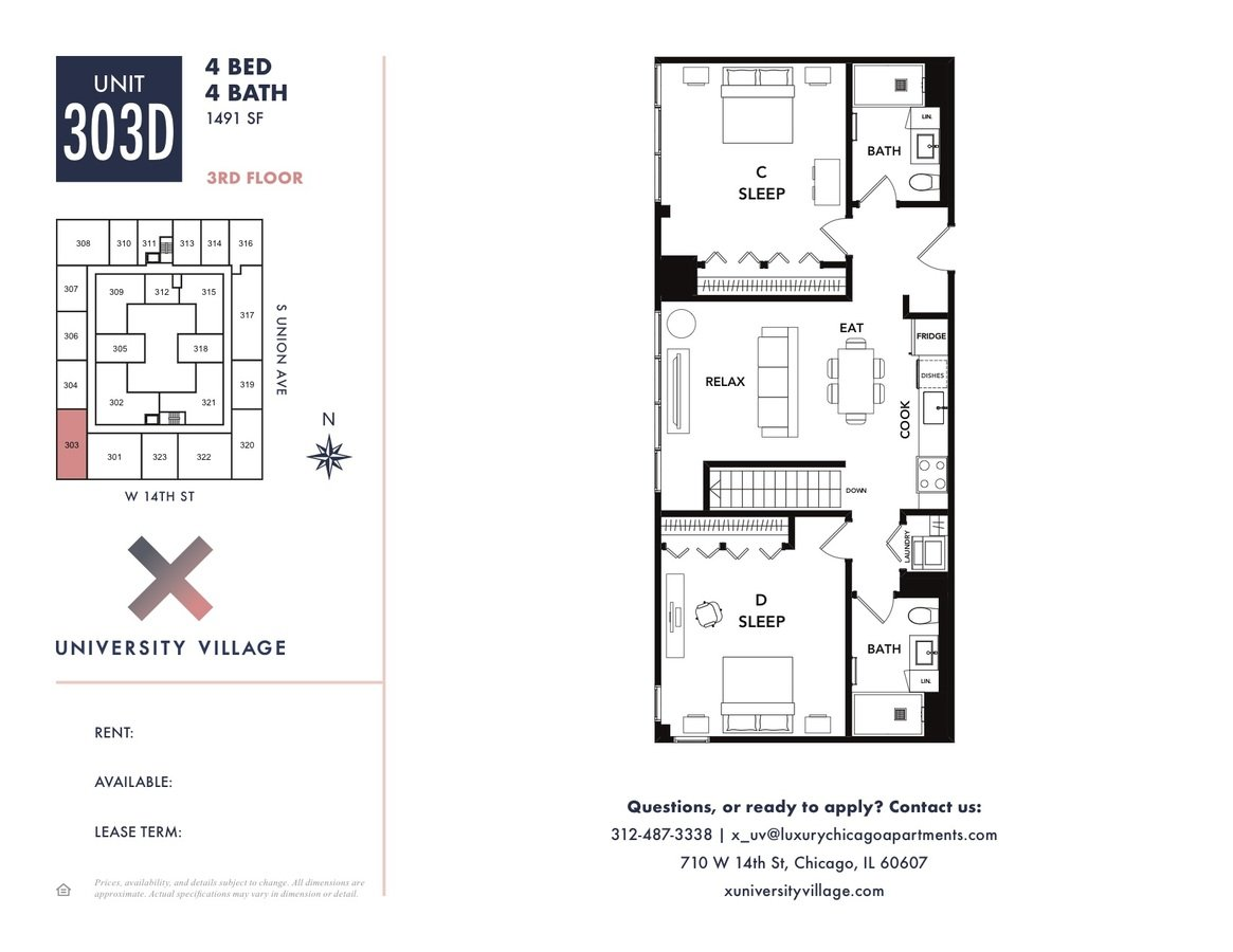 4 Bedrooms 4+ Bathrooms Apartment for rent at X Chicago in Chicago, IL