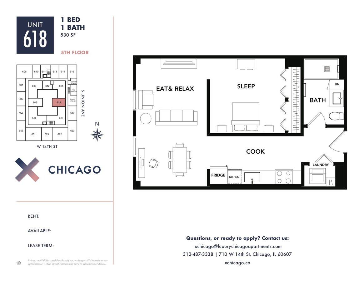 1 Bedroom 1 Bathroom Apartment for rent at X Chicago in Chicago, IL