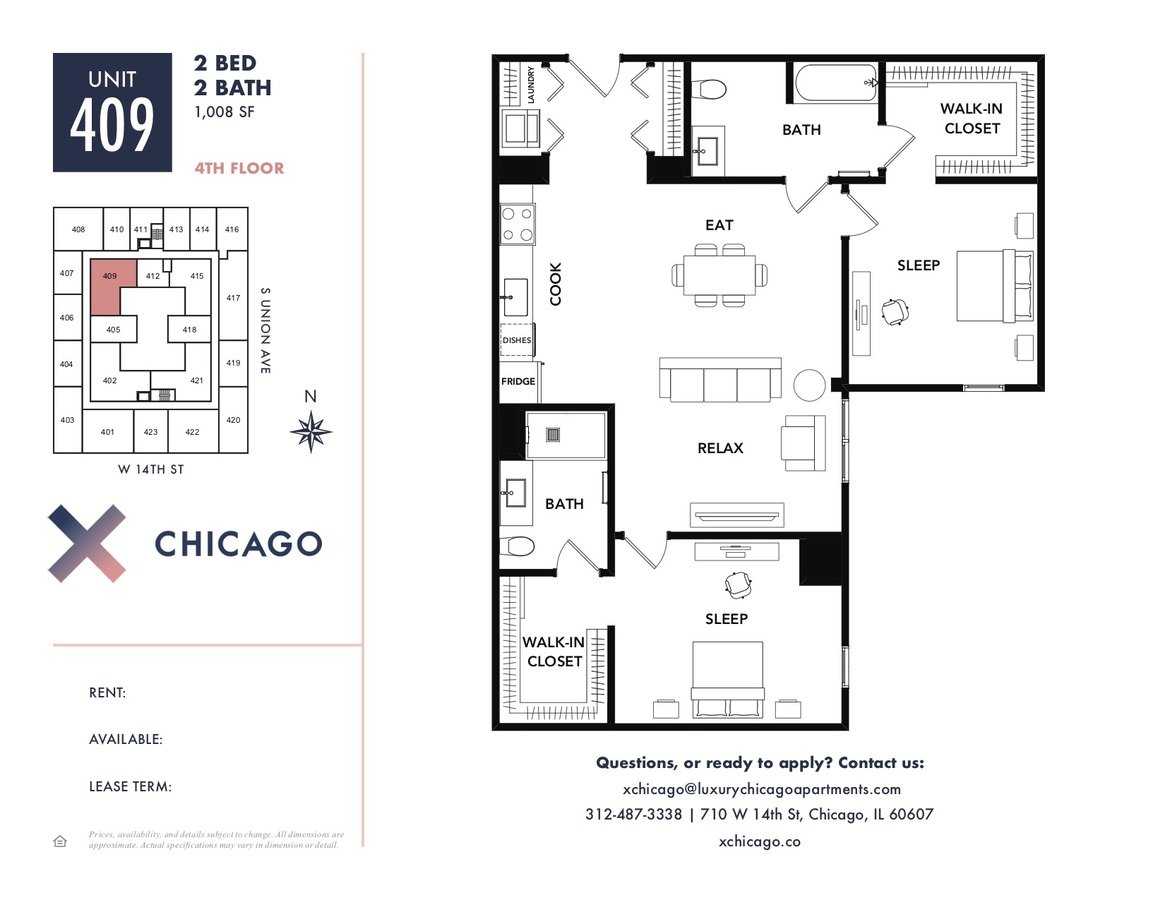 2 Bedrooms 2 Bathrooms Apartment for rent at X Chicago in Chicago, IL
