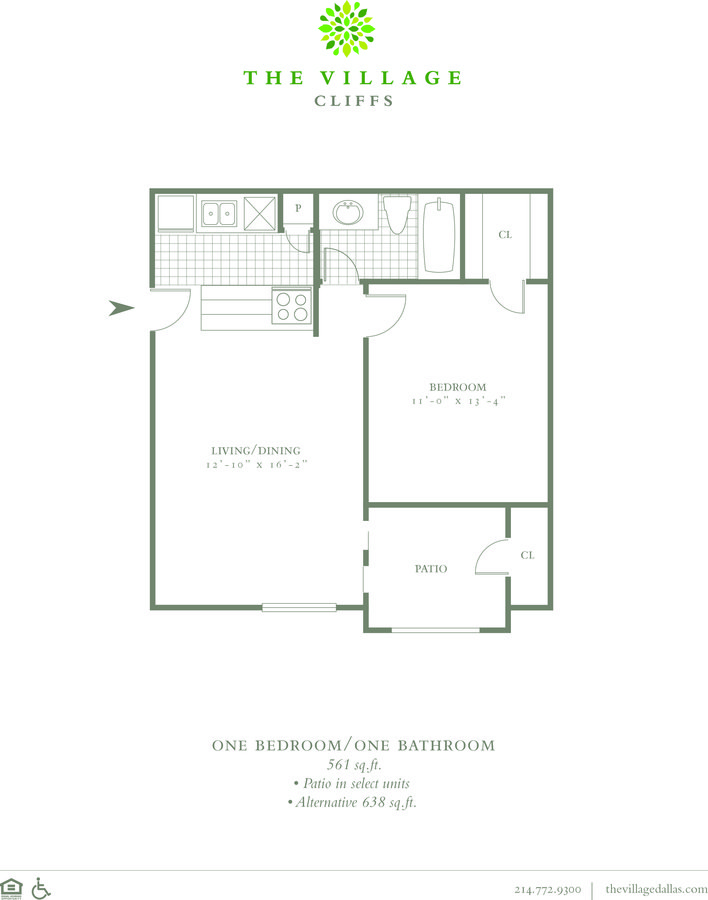 1 Bedroom 1 Bathroom Apartment for rent at The Village Cliffs in Dallas, TX