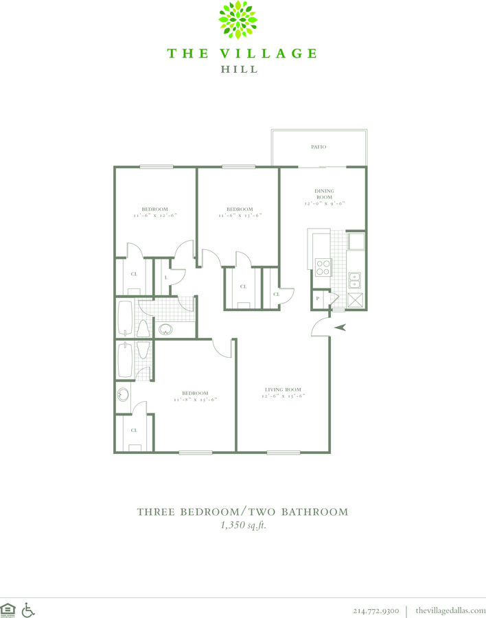 3 Bedrooms 2 Bathrooms Apartment for rent at The Village Hill in Dallas, TX