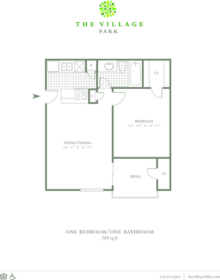 1 Bedroom 1 Bathroom Apartment for rent at The Village Park in Dallas, TX