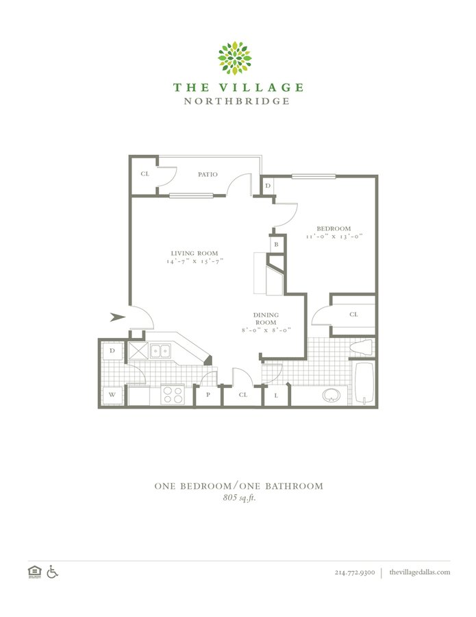 1 Bedroom 1 Bathroom Apartment for rent at The Village Northbridge in Dallas, TX