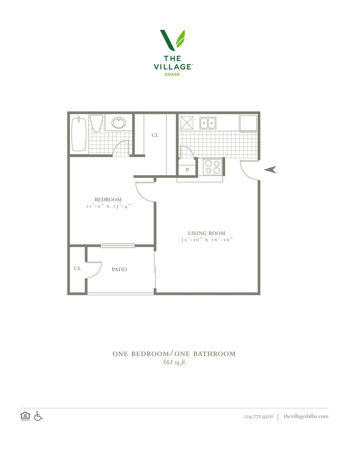 1 Bedroom 1 Bathroom Apartment for rent at The Village Chase in Dallas, TX
